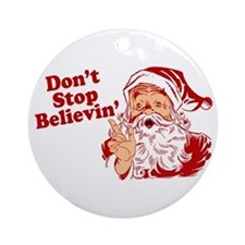 Don't Stop Believin' Santa Ornament (Round)