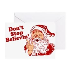 Don't Stop Believin' Santa Greeting Card