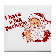 Santa Has a Big Package Tile Coaster