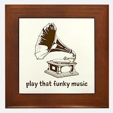 Funky Music (brown) Framed Tile