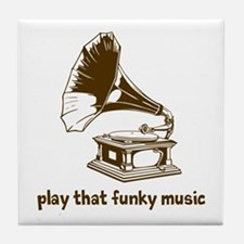 Funky Music (brown) Tile Coaster