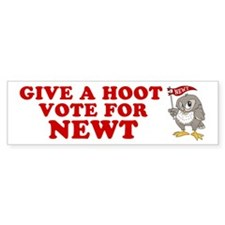 Give A Hoot Vote For Newt Bumper Sticker