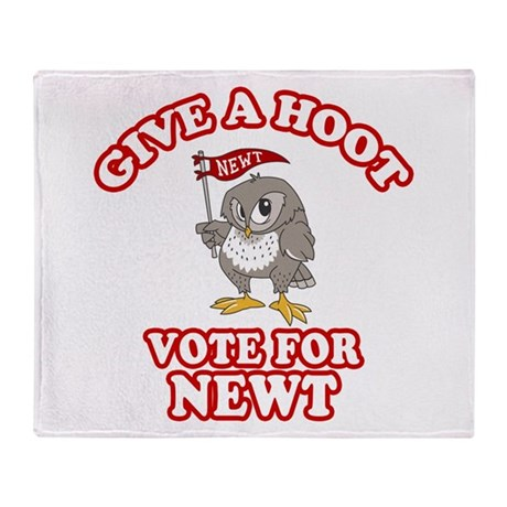 Give A Hoot Vote For Newt Throw Blanket