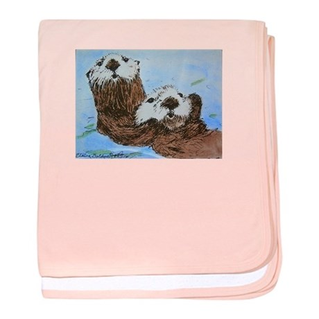 Baby Blanket with Sea Otters drawing