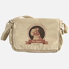 Retro Boxer Dog Design Messenger Bag