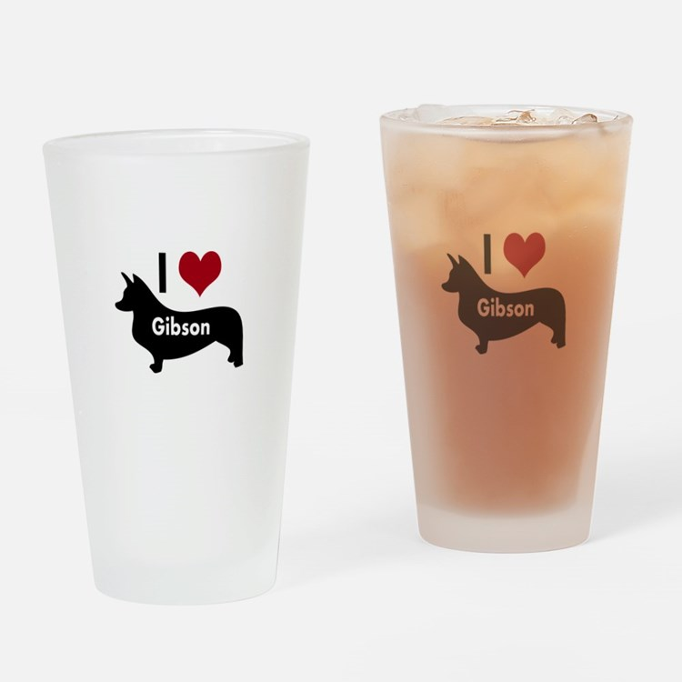 I Love My Corgi's Name Drinking Glass