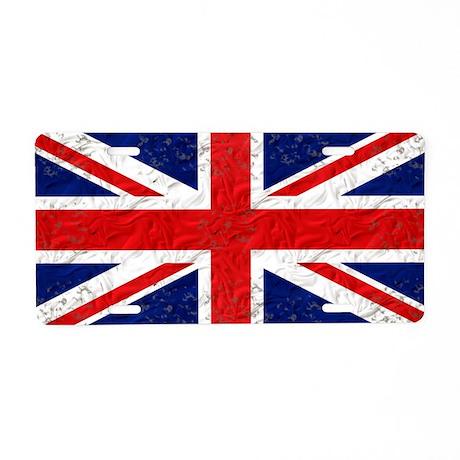 Vintage Grunge UK Flag Aluminum License Plate