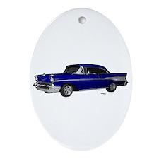 1957 Chevy Dark Blue Ornament (Oval)