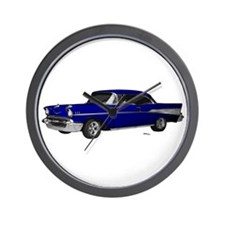 1957 Chevy Dark Blue Wall Clock