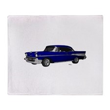 1957 Chevy Dark Blue Throw Blanket