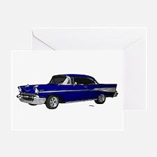 1957 Chevy Dark Blue Greeting Card