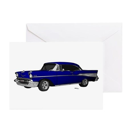 1957 Chevy Dark Blue Greeting Cards (Pk of 20)