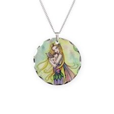 Mother and Baby Fairy Fantas Necklace Circle Charm