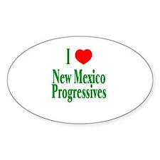 I Love NM Progressives Oval Decal