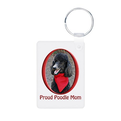 Proud Poodle Mom Aluminum Photo Keychain