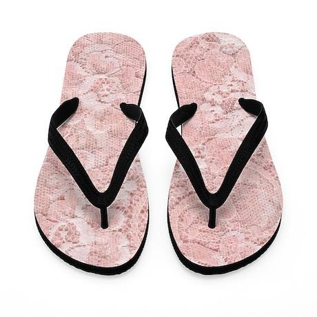 Pink Lace Flip Flops