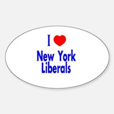 I Love New York Liberals Oval Decal