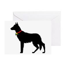 Christmas or Holiday German Shepherd Silhouette Gr