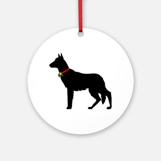 Christmas or Holiday German Shepherd Silhouette Or