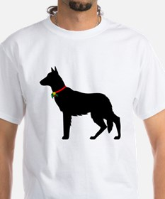 Christmas or Holiday German Shepherd Silhouette Wh