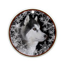 Siberian Husky Ornament with eSnowflakes(Round)