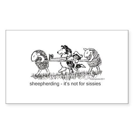 Sheepherding Sissies/Sheltie Sticker (Rectangle)