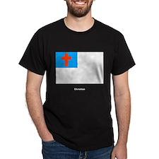 Christian Religious Flag (Front) Black T-Shirt