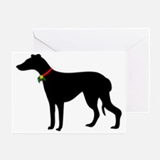 Christmas or Holiday Greyhound Silhouette Greeting