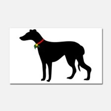 Christmas or Holiday Greyhound Silhouette Car Magn