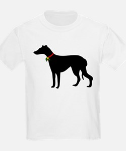 Christmas or Holiday Greyhound Silhouette T-Shirt