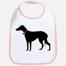 Christmas or Holiday Greyhound Silhouette Bib