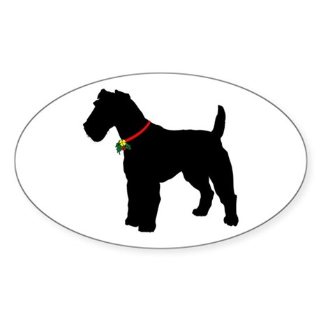 Christmas or Holiday Fox Terrier Silhouette Sticke