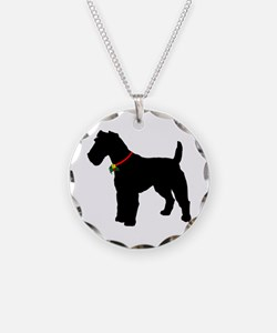 Christmas or Holiday Fox Terrier Silhouette Neckla