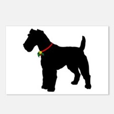 Christmas or Holiday Fox Terrier Silhouette Postca