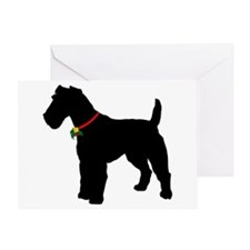 Christmas or Holiday Fox Terrier Silhouette Greeti