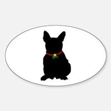 Christmas or Holiday French Bulldog Silhouette Sti