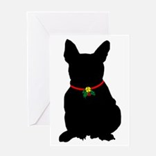 Christmas or Holiday French Bulldog Silhouette Gre