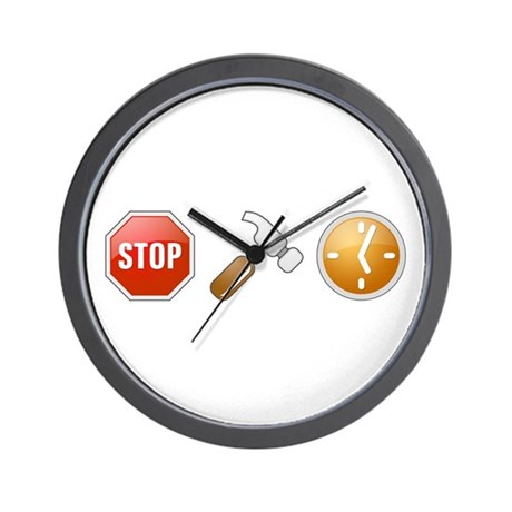 Stop - Hammer - Time Wall Clock