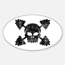 Weightlifting Skull Sticker (Oval)