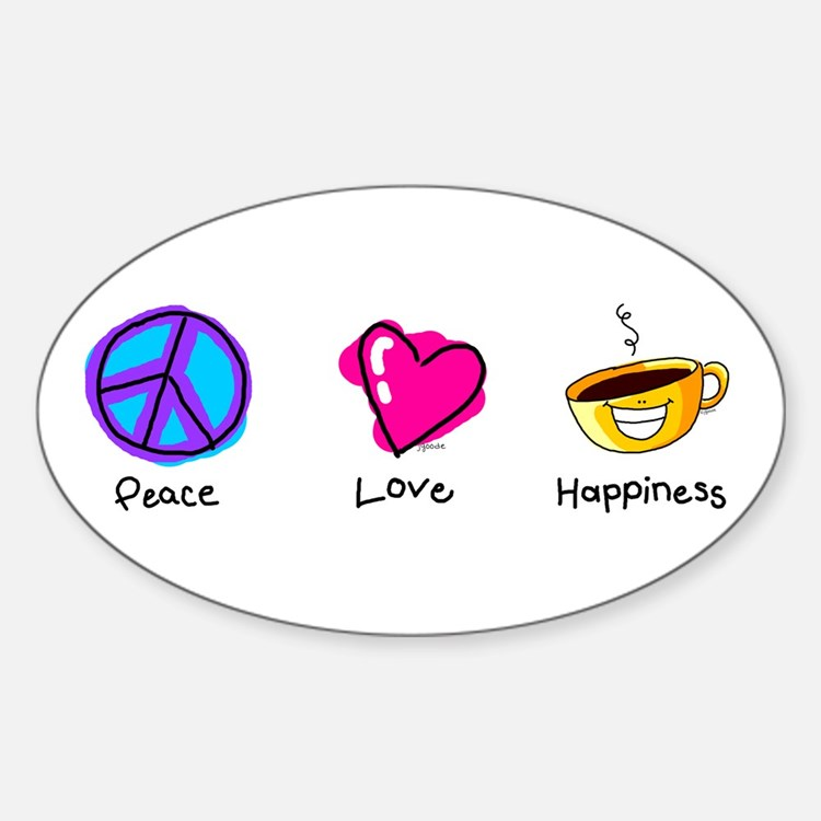 Peace Love and Coffee Oval Decal