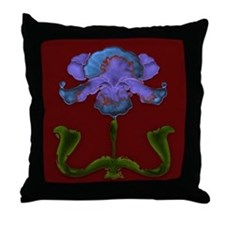 Throw Pillow with colorful blue and purple iris.