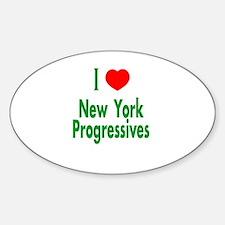 I Love New York Progressives Oval Decal