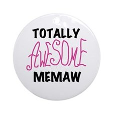 Pink Awesome Memaw Ornament (Round)