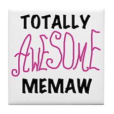 Pink Awesome Memaw Tile Coaster