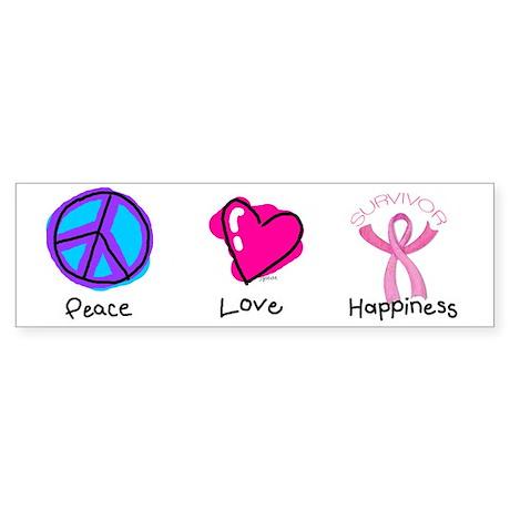 Peace Love and Breast Cancer Survivor Sticker (Bum