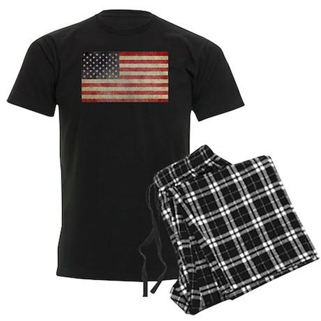 US Faded Flag Men's Dark Pajamas