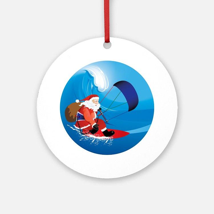 Santa Kitesurf Ornament (Round)