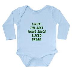 Linux: Sliced bread Long Sleeve Infant Bodysuit