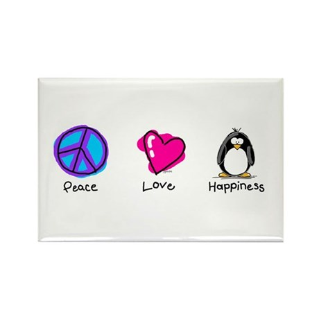Peace Love and Penguins Rectangle Magnet