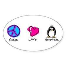 Peace Love and Penguins Oval Decal